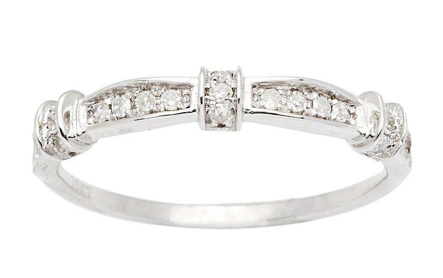 10k White Gold 1/5ct Contoured Diamond Wedding Band (G-H, I1-I2)