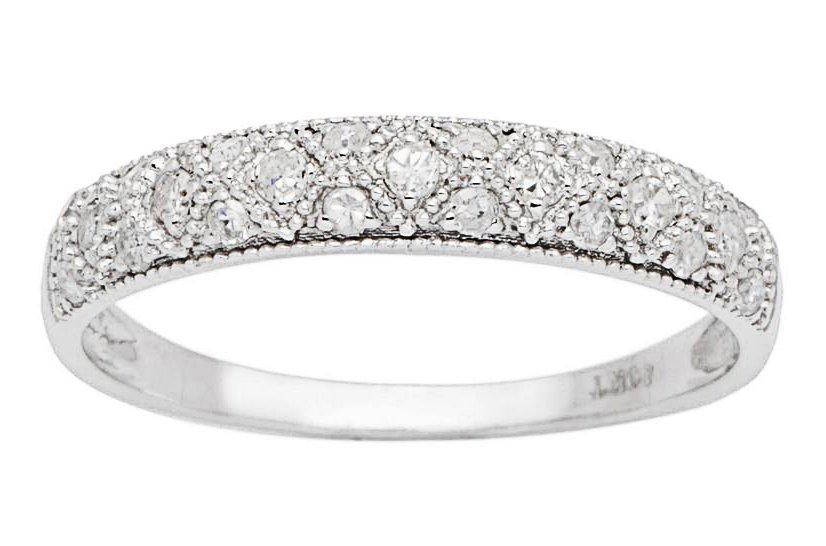 10k White Gold 1/3ct Lattice Pave Diamond Anniversary Wedding Band (G-H, I1-I2)