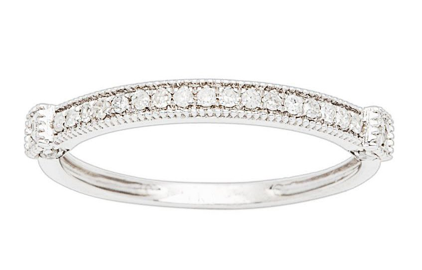 10k White Gold 1/6ct Milgrain Pave Diamond Wedding Band (G-H, I1-I2)