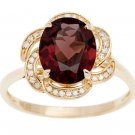 Yellow Gold 3.16ct Oval Garnet and Pave Curved Halo Diamond Ring