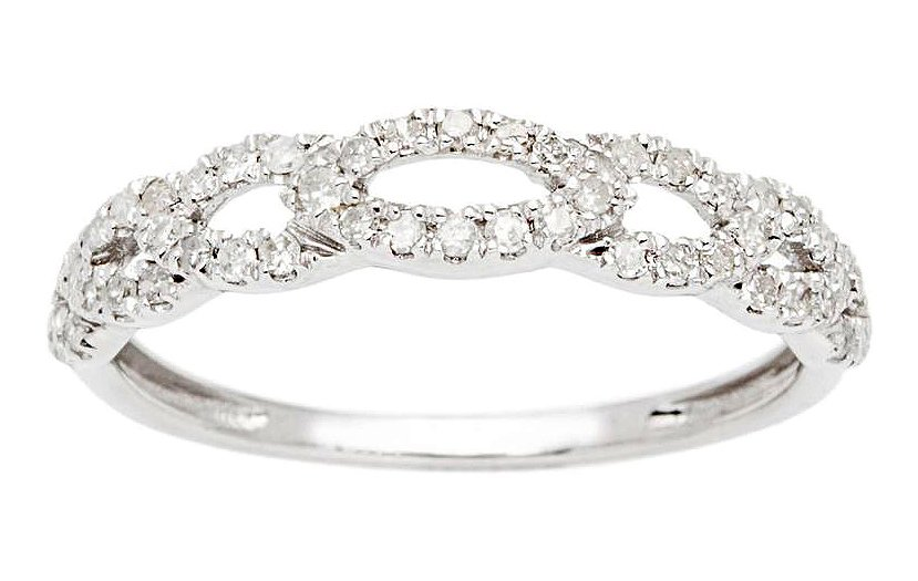 10k White Gold 1/3ct Pave Diamond Links Wedding Anniversary Band (G-H, I1-I2)