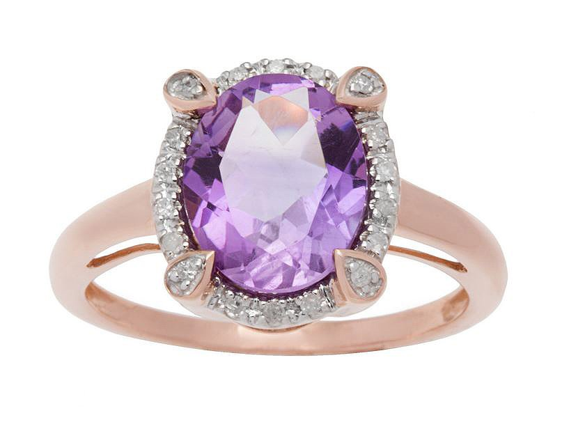 10k Rose Gold Oval 3.15ct Amethyst and Diamond Halo Ring (G-H, I1-I2)