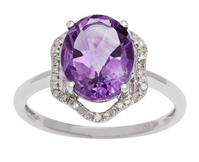 White Gold 3.20ct Oval Amethyst and Halo Pave Diamond Ring
