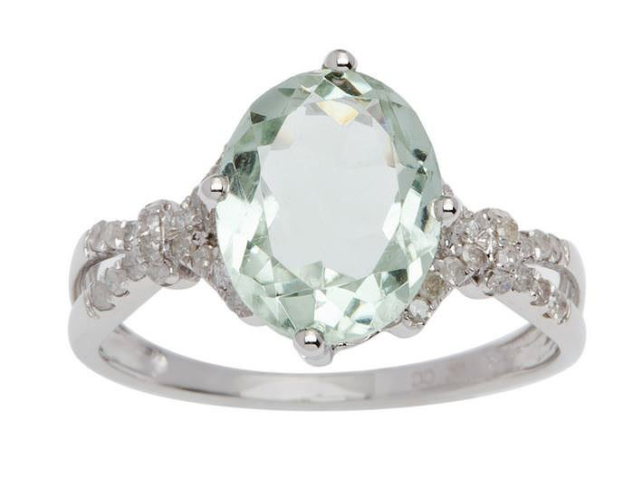White Gold 3.20ct Oval Green Amethyst and Split-Shank Diamond Ring