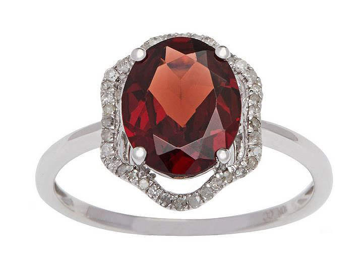 White Gold 3.20ct Oval Garnet and Halo Pave Diamond Ring