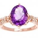 Rose Gold 3.20ct Oval Amethyst and Split-Shank Diamond Ring