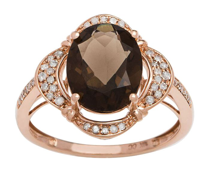 Rose Gold 3.33ct Oval Smokey Quartz and Pave Halo Diamond Ring