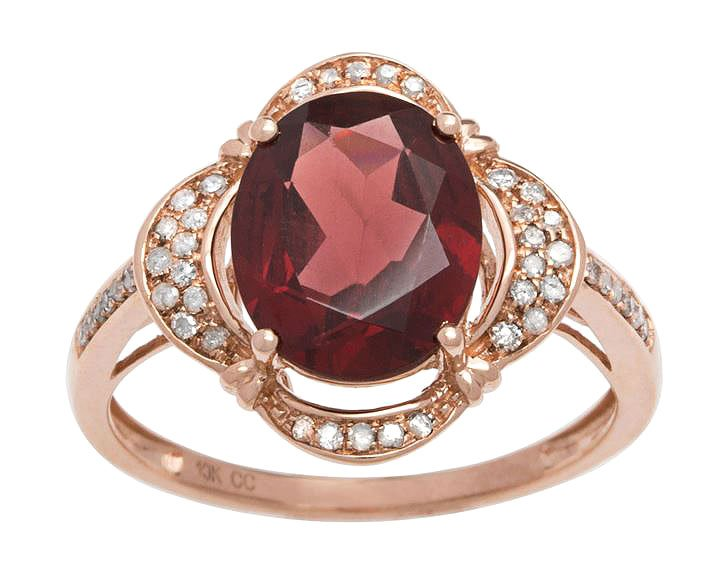 Rose Gold 3.33ct Oval Garnet and Pave Halo Diamond Ring