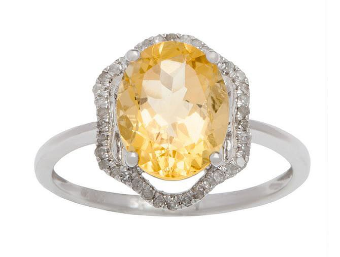 White Gold 3.20ct Oval Citrine and Halo Pave Diamond Ring