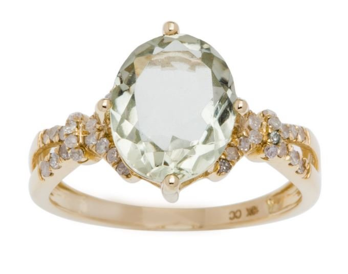 Yellow Gold 3.20ct Oval Green Amethyst and Split-Shank Diamond Ring