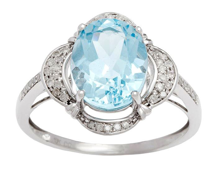 White Gold 3.33ct Oval Blue Topaz and Pave Halo Diamond Ring