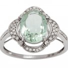 White Gold 3.33ct Oval Green Amethyst and Pave Halo Diamond Ring