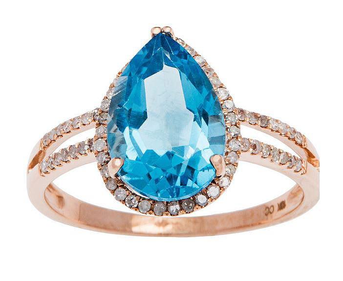Rose Gold 3.33ct Pear-Shape Blue Topaz and Split-Shank Diamond Halo Ring