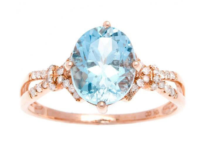 Rose Gold 3.20ct Oval Blue Topaz and Split-Shank Diamond Ring