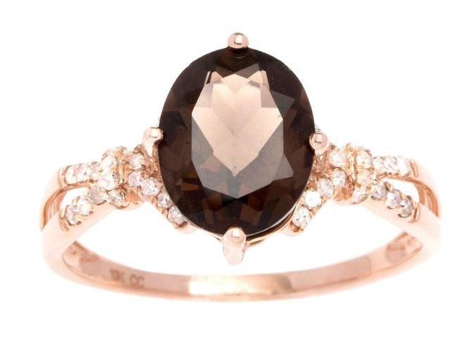 Rose Gold 3.20ct Oval Smokey Quartz and Split-Shank Diamond Ring