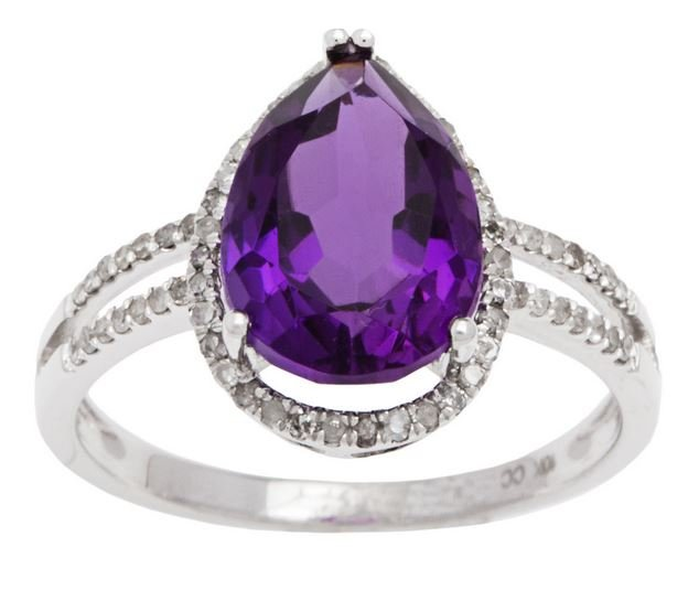 White Gold 3.33ct Pear-Shape Amethyst and Split-Shank Diamond Halo Ring
