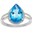 White Gold 3.33ct Pear-Shape Blue Topaz and Split-Shank Diamond Halo Ring