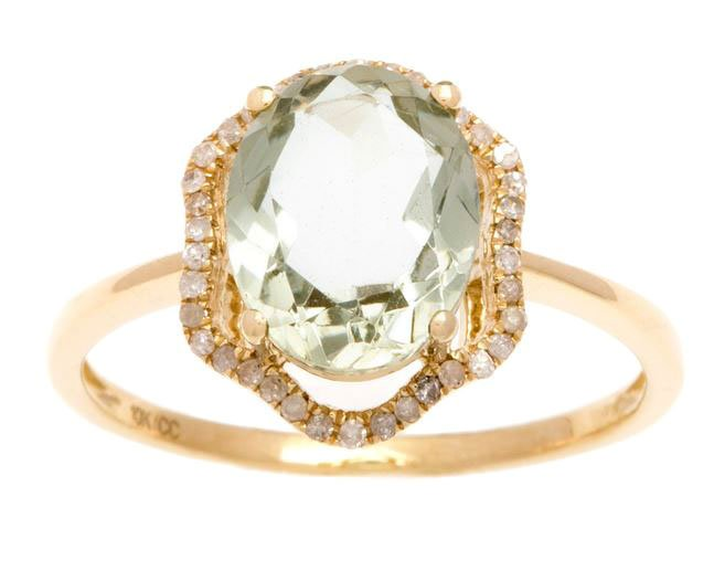 Yellow Gold 3.20ct Oval Green Amethyst and Halo Pave Diamond Ring