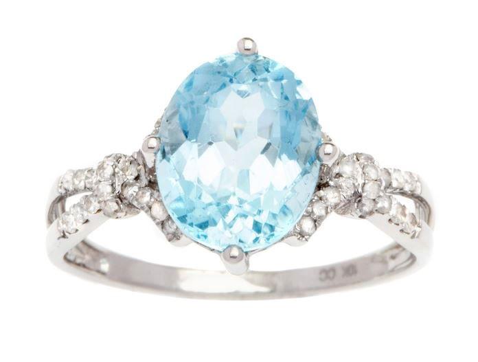 White Gold 3.20ct Oval Blue Topaz and Split-Shank Diamond Ring