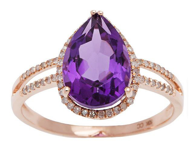 Rose Gold 3.33ct Pear-Shape Amethyst and Split-Shank Diamond Halo Ring