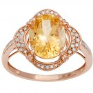 Rose Gold 3.33ct Oval Citrine and Pave Halo Diamond Ring