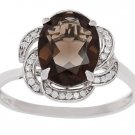 10k White Gold 3.16ct Oval Smokey Quartz and Pave Curved Halo Diamond Ring