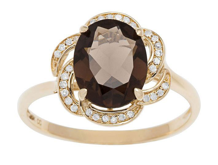10k Yellow Gold 3.16ct Oval Smokey Quartz and Pave Curved Halo Diamond Ring