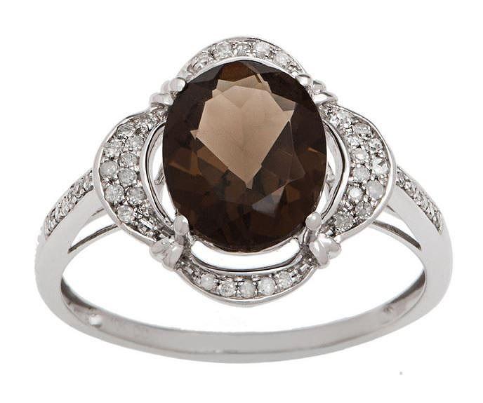 White Gold 3.33ct Oval Smokey Quartz and Pave Halo Diamond Ring