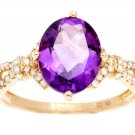 Yellow Gold 3.20ct Oval Amethyst and Split-Shank Diamond Ring