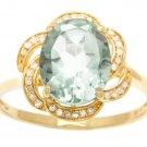 10k Yellow Gold 3.16ct Oval Green Amethyst and Pave Curved Halo Diamond Ring