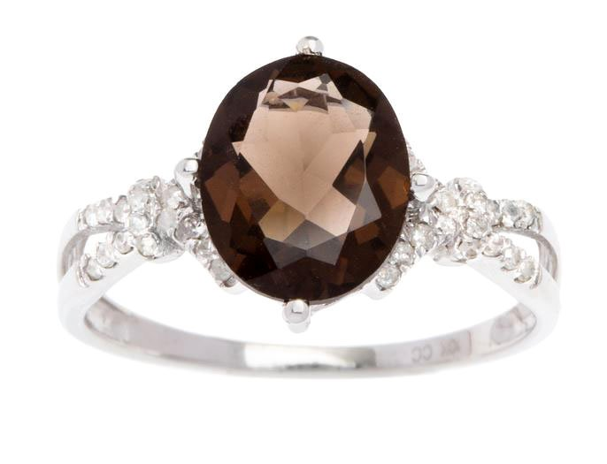White Gold 3.20ct Oval Smokey Quartz and Split-Shank Diamond Ring
