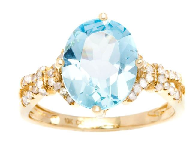 Yellow Gold 3.20ct Oval Blue Topaz and Split-Shank Diamond Ring