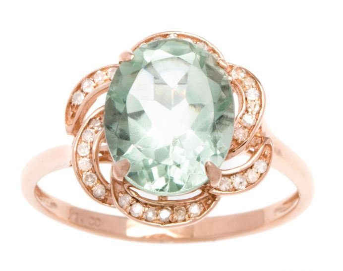 10k Rose Gold 3.16ct Oval Green Amethyst and Pave Curved Halo Diamond Ring