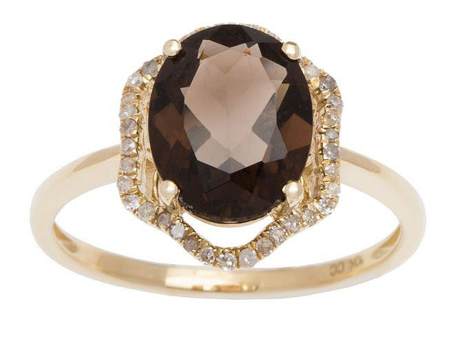 Yellow Gold 3.20ct Oval Smokey Quartz and Halo Pave Diamond Ring