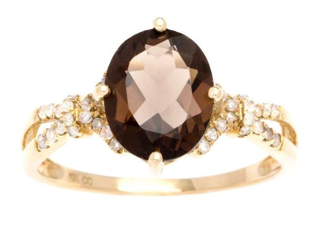 Yellow Gold 3.20ct Oval Smokey Quartz and Split-Shank Diamond Ring