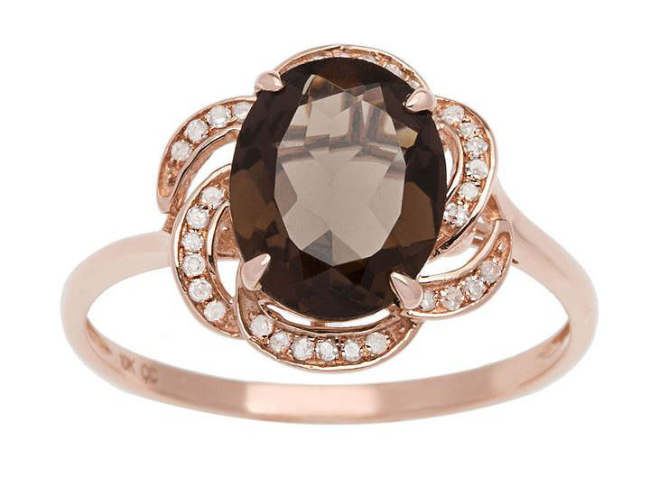 10k Rose Gold 3.16ct Oval Smokey Quartz and Pave Curved Halo Diamond Ring