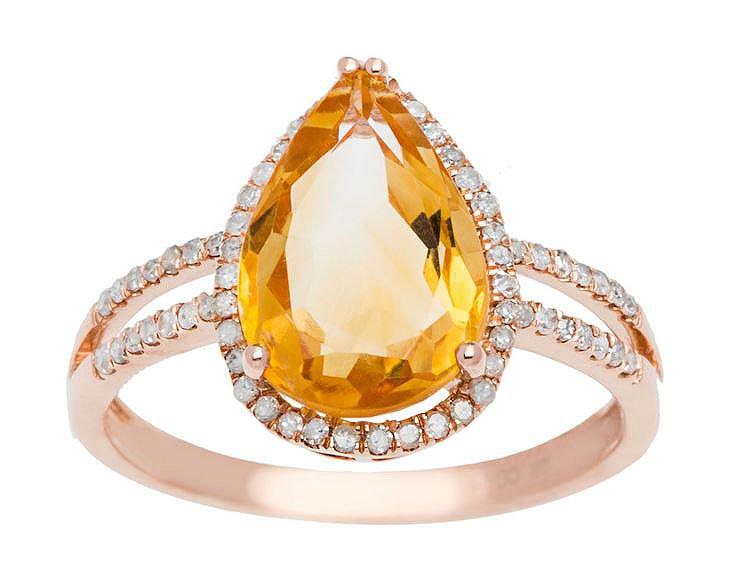 Rose Gold 3.33ct Pear-Shape Citrine and Split-Shank Diamond Halo Ring