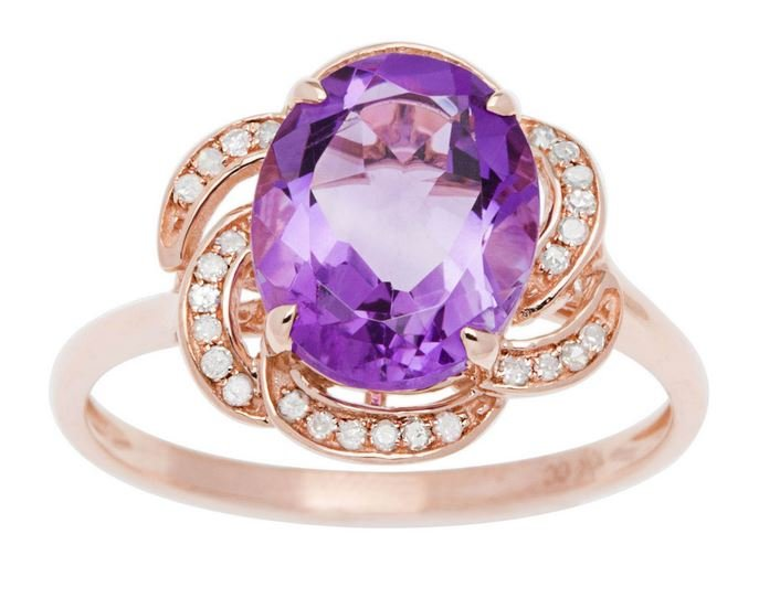 Rose Gold 3.16ct Oval Amethyst and Pave Curved Halo Diamond Ring