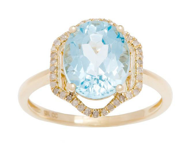 Yellow Gold 3.20ct Oval Blue Topaz and Halo Pave Diamond Ring