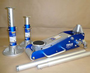 2 TON ALUMINUM TRACK DAY RACING JACK AND PAIR OF STANDS PRECISE CRAFTED 770-146