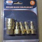 SOLID BRASS Air Compressor Quick Coupler and Plug 5 Piece Fitting Set 770-105