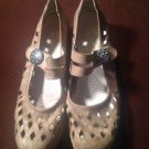 Women's RIEKER Anti-Stress Tan Leather Mary Jane Shoes--Velcro--Size 37