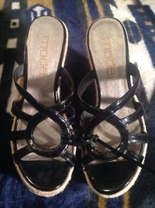 Cute! Women's Moda Spana Peep Toe Patent Wedge Heel Sandals Shoes size 7M