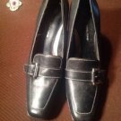 Casual Corner Sz 9 1/2 M Black Leather Buckle Loafers Pumps Arj-3