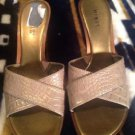 MIXIT WOMENS SIZE 8M HEELS SHOES FAUX REPTILE SNAKESKIN GOLD LEATHER BACKLESS