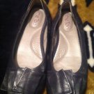 Me Too Lilyanm Womens Leather Navy Blue Ballerina Flats Size 7.5M Comfort Soles