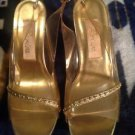 Renica Womens Clear Lucite Gold Evening Dress Wedding Evening Shoes SZ 7M