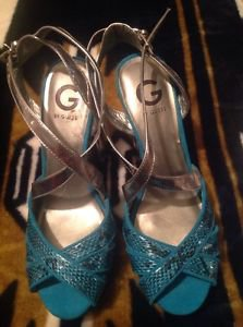 G by GUESS Foxie Aqua/Black Women's Shoes Size 9M High Heels
