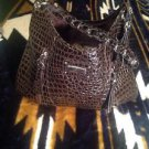 Bueno Brown Faux Leather Faux Croc Pattern Women's Handbag Purse