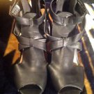 Bamboo Women's Fashion Black Peep Toe Summer Sandals Heels Shoes Sz 8.5